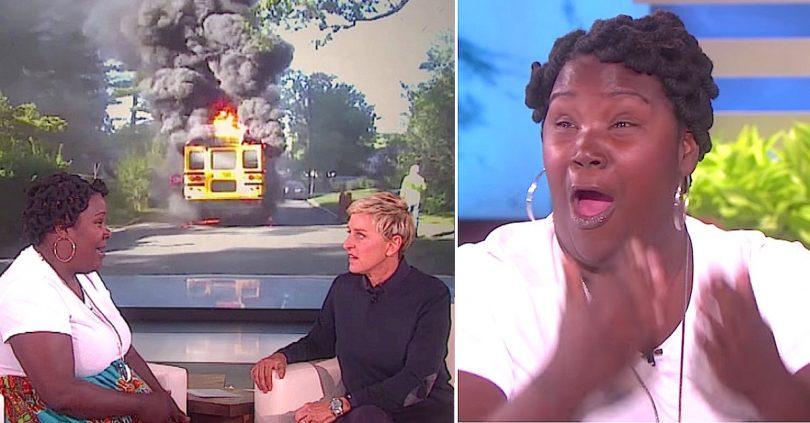 bus on fire, ellen show
